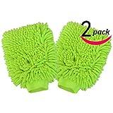 Microfiber wash Mitt Green Pack of 2