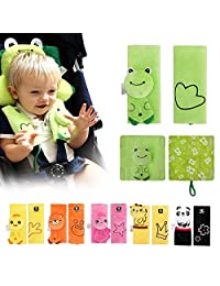 INCHANT Cartoon Animal Soft Harness Seat belt Strap Covers pads UNIVERSAL Reversible Strap Covers Infant Car Seat Strap Covers, Baby Seat Belt Covers, Stroller Accessories, Head Support, Shoulder Pads(Green Frog - 2pcs)