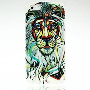 TOPQQ Colorful Lines Lion Pattern Case for iPhone 4/4S