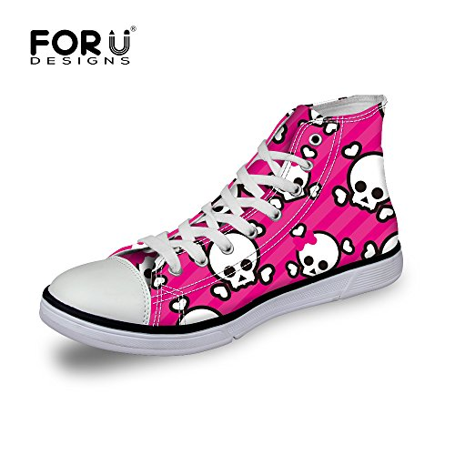 Cool Print Fashion High Skull Lace Sneaker Pink Top Men up Women FOR Shoes 1 Casual DESIGNS U BxqBE1