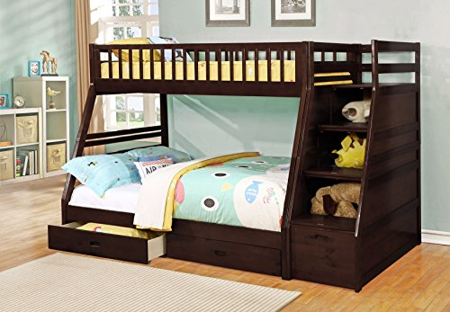 Major-Q Espresso Finish Twin over Full Bunk Bed with Storage Ladder and 2 Drawers (SH4519211ES)