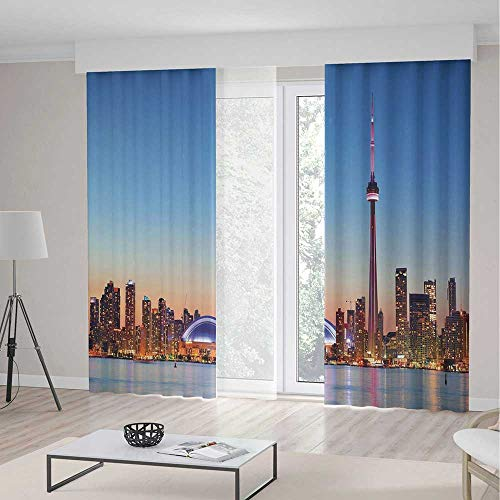 Pearl Toronto Blue (iPrint Modern Room Decor Curtains,Canadian Skyline Toronto City Lake Panorama at Evening Urban Scenery Decorative,Living Room Bedroom Curtain 2 Panels Set,236 W 106 L,Light Blue Cinnamon)