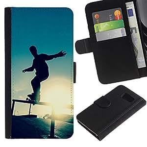 JackGot ( Skate Sunset ) Sony Xperia Z1 Compact / Z1 Mini (Not Z1) D5503 la tarjeta de Crédito Slots PU Funda de cuero Monedero caso cubierta de piel
