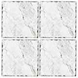 Cala Home Set of 4 Tumbled Tile Coasters, White Marble Pattern