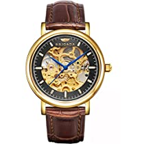 BRIGADA Luxury Gold Black Automatic Hollow Mechanical Watch for Men Swiss Brand Watches for Men