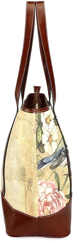 Tote Bags Vintage Watercolor Background Bird Hand Painting Travel Totes Bag Fashion Handbags Shopping Zippered Tote For Women Waterproof Handbag