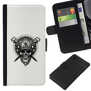 EJOY---La carpeta del tirón la caja de cuero de alta calidad de la PU Caso protector / Sony Xperia Z1 L39 / --Cráneo y casco