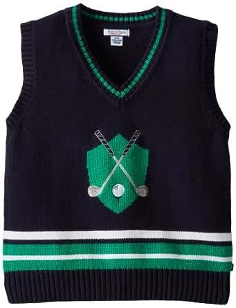 Kitestrings Big Boys' Golf Applique Cotton Sweater Vest, Navy, 8/10