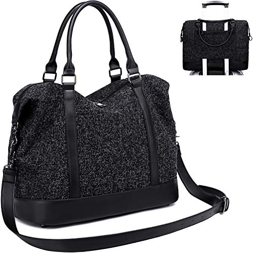 Black Luggage Totes - CAMTOP Women Travel Tote Overnight Weekender Carry On Bag With Luggage Sleeve (A-Black)