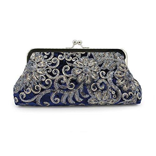 Kingluck The Evening Bags Women Clutch Bags embroidering Wedding Bridal Handbag Pearl Beaded Lace Rose Fashion Rhinestone Bags (blue)