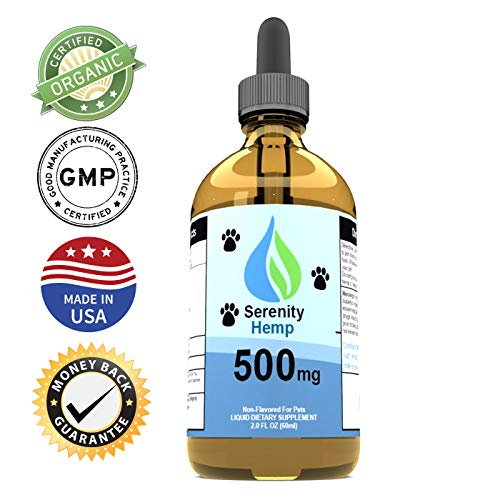 Serenity Hemp Oil for Dogs and Cats (500mg) - Grown & Made in USA - Supports Hip & Joint Health, Natural Relief for Pain, Separation Anxiety - Herbal Drops - Organic Extract - Non-GMO