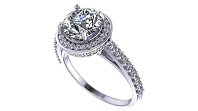 d9bf726dd433 NaNa 8mm Round Brilliant Cut Halo Engagement Ring -Rhodium Plated-Size 5