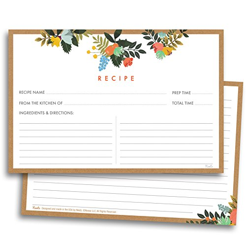 Floral Recipe Cards - 50 Double Sided Cards, 4x6 inches. Thick Card Stock ()