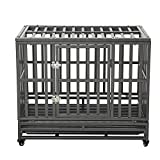 LUCKUP 38 Inch Heavy Duty Dog Cage Strong Metal Kennel and Crate for Large Dogs,Easy to Assemble Pet Playpen with Four Wheels,Black ... ...
