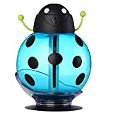 Ultrasonic Mute Humidifier JY-009 Indoor Air Purification No Water Smart Power-off Transparent Visual Water Tank Beetle Shape 260ml , Blue