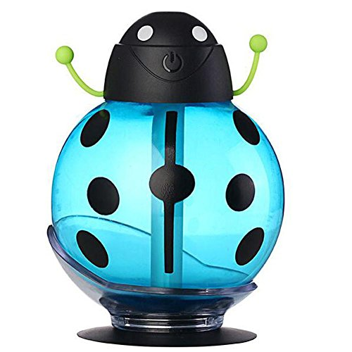 Ultrasonic Mute Humidifier JY-009 Indoor Air Purification No Water Smart Power-off Transparent Visual Water Tank Beetle Shape 260ml , Blue by JIAYUE