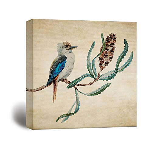 Square Vintage Style Watercolor Bird and Plant