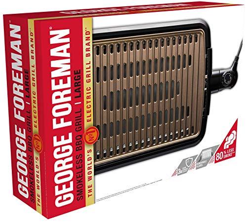 George Foreman 25850-56 Smokeless BBQ Grill, Niente Fumo per utilizzo in casa, Piastra e Vassoio Lavabili in… 2