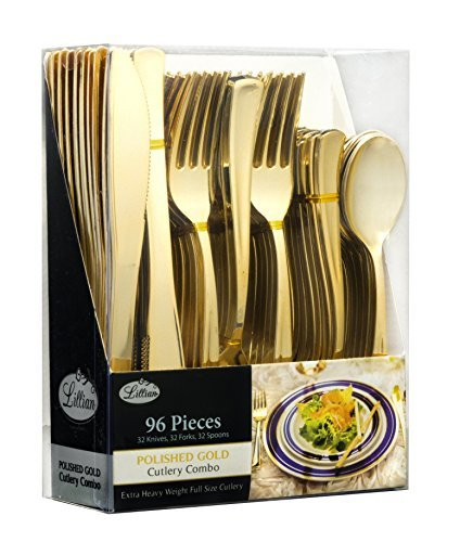 Plastic Cutlery Silverware Extra Heavyweight Disposable Flatware, Full Size Cutlery Combo, Gold, Value Pack 96 Count