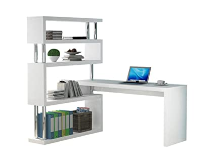 Simple Modern Desk Bookshelves Swivel Computer Storage Shelves Corner White