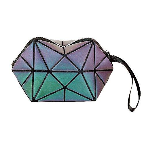 Beautier Holographic Reflective Luminous Handbag Lattice Design Geometric Bag Unique Purses Soft PU Leather Wristlet Clutch Cell Phone Purse (Hexagon)