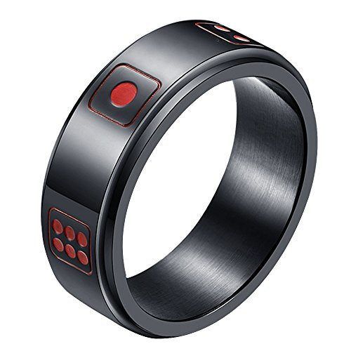 Dice Band Black (LANHI Men's 8MM Stainless Steel Dice Spins Spinner Ring Band, Black 10)