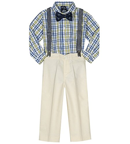 Nautica Baby  Boys' Set with Shirt, Pant, Suspenders, and Bow Tie, Oxford Yellow Plaid, 18M