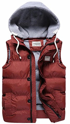 today-UK Mens Hood Quilted Loose Puffer Down Vest with Removable Red