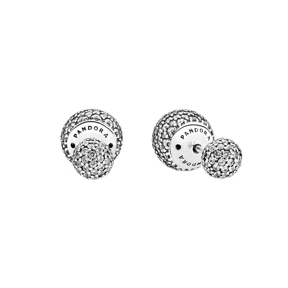 Earrings Pandora Button 290737CZ Woman Silver Zirconia