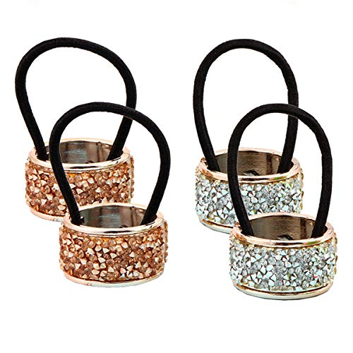 4Pcs Fashion Shining Alloy Rhinestone Crystal Ponytail Holder Hair Cuff Punk Hair Ties Rings Elastic Hair Band Accessories for Women Lady Girls (2 Colors) (Best Female Punk Bands)