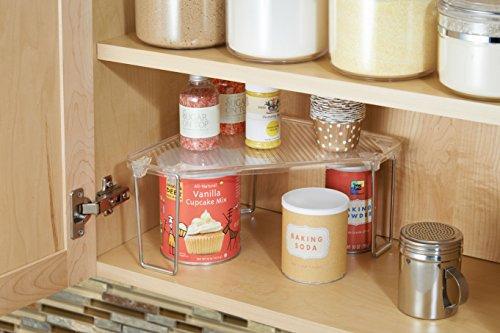 InterDesign Linus Corner Storage Shelf for Kitchen Cabinets, Countertops, Pantries - Clear