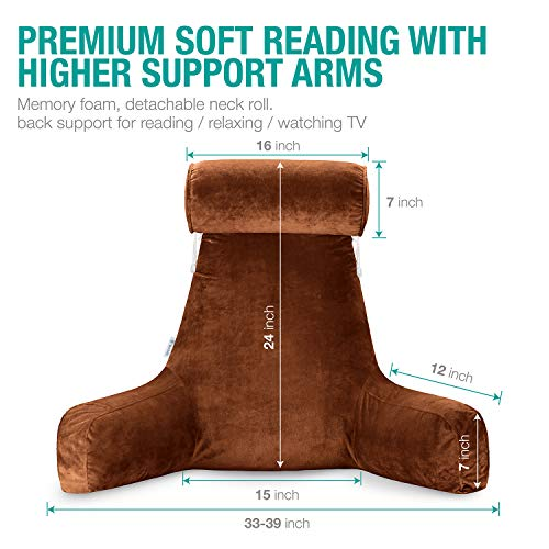 F Pocket Details about  /Vekkia Premium Soft Reading /& Bed Rest Pillow with Higher Support Arm
