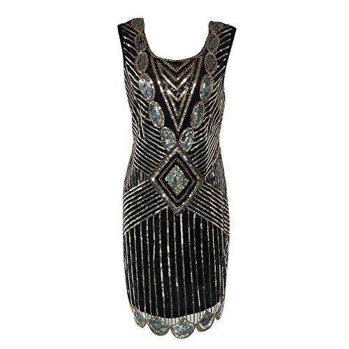 La Mujer Vestidos de Baile 1920 Charnela Brillante Vestido Vintage 1920 Gran Gatsby Gatsby Charleston Sequin Borla Parte Lentejuelas Vestido Negro