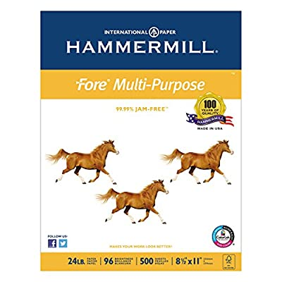 Hammermill 103283 Fore MP Multipurpose Paper, 96 Brightness, 24lb, 8-1/2 x 11, 5000/Carton