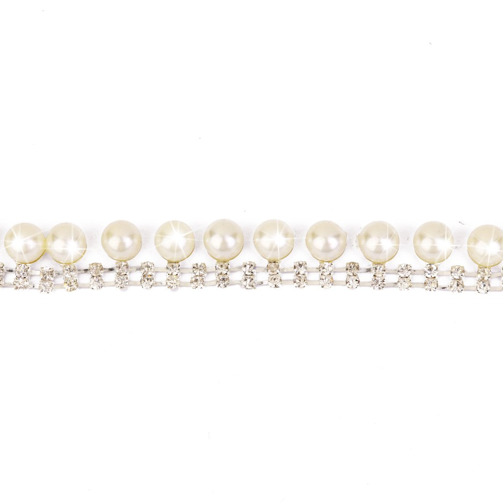 2-Row Rhinestone Faux Pearl Chain Jewellery Making Sewing Trim Craft 1 Yard