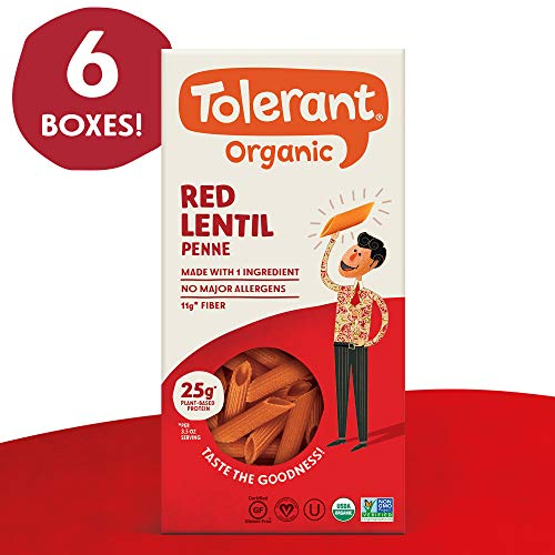 Tolerant Organic Gluten Free Red Lentil Penne Pasta, 8 Ounce Box (Case of 6), Plant Based Protein, Vegan Pasta, Single Ingredient Protein Pasta, Whole Food, Clean Pasta, Low Glycemic Index Pasta ... ()