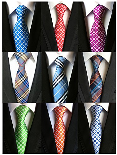 Welen Lot 9 PCS Classic Men's Tie Necktie Woven JACQUARD Neck Ties (Style 10) (Polyester Tigers Tie Woven)
