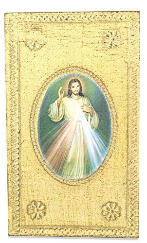 Divine Mercy Wall Plaque with Gold Background and Wall Hook - Made in Italy ()