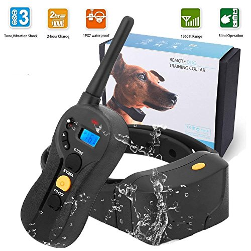 Dog Training Collar 600 yd Remote Waterproof Rechargeable Control Training Collar Beep Vibration Electric Shock E-Collar (10-100Lbs)