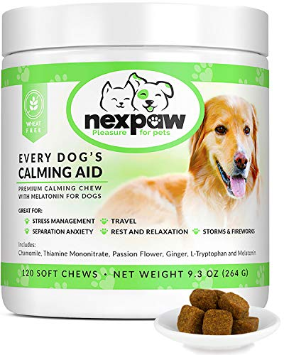 NEXPAW Calming Treats for Dogs with Melatonin - Best for Anxiety from Separation - Thunder - Travel - Safe & Natural Aid - Canine Stress Helper - 120 Wheat Free Soft Chews Dogs Love