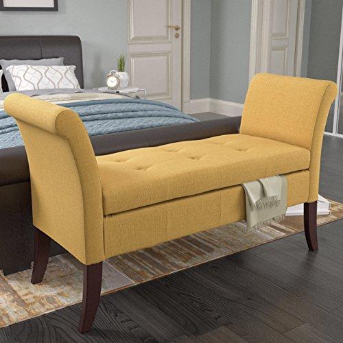 CorLiving LAD-581-O Antonio Storage Bench, Yellow