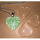 Olivia Pearl Designs Set 10 Clear 1 Inch Glass Tile Hearts for Jewelry Making and Crafting