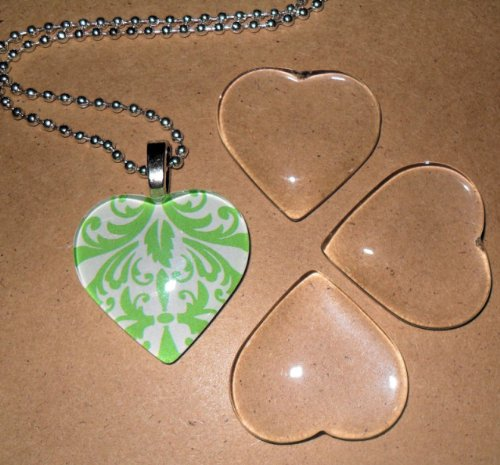 Heart Shaped Tiles - Olivia Pearl Designs Set 10 Clear 1 Inch Glass Tile Hearts for Jewelry Making and Crafting