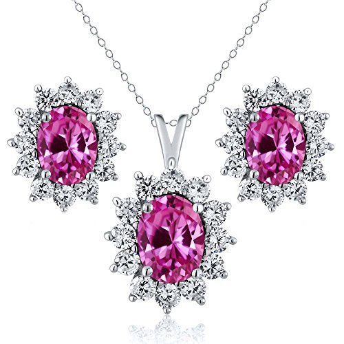 3.25 Ct Oval Pink Created Sapphire 925 Sterling Silver Pendant Earrings (Oval Sapphire Pendant Set)