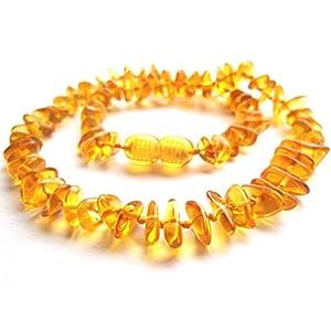 Amberta Collier Ambre 33cm. – 100% Plus Haute Qualite Certifie l'Ambre la Baltique Authentique Collier Perles