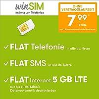 winSIM Umowa na telefon komórkowy LTE All 5 GB – bez umowy (FLAT Internet 5 GB LTE maks. 50 Mbit/s z dezaktywowanym…