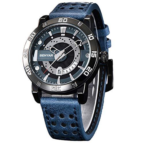 BENYAR Quartz Chronograph Waterproof Watches Business and Sport Design Leather Band Strap Wrist Watch for Men (Black Blue)