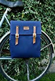 Blue canvas and leather bicycle backpack pannier