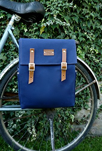 Blue canvas and leather bicycle backpack pannier by Bicibybar