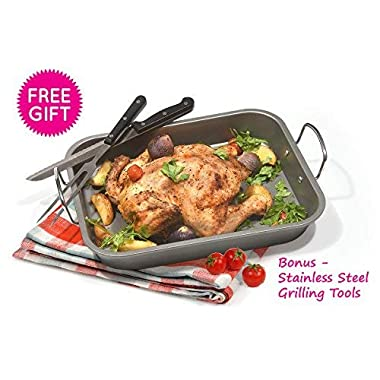 Fox Home Roasting Pan Set , Non-Stick, Carbon Steel Baking Dish With Bonus Serrated Meat Knife, Stainless Steel Fork